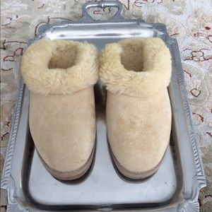 Ugg Tan Leather Wool Slippers